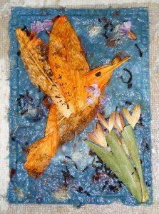 papierpulp met vorm van vogel van irisbloem gemaakt